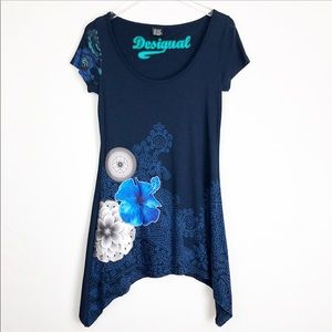 Desigual | Floral Short sleeves blue tunic